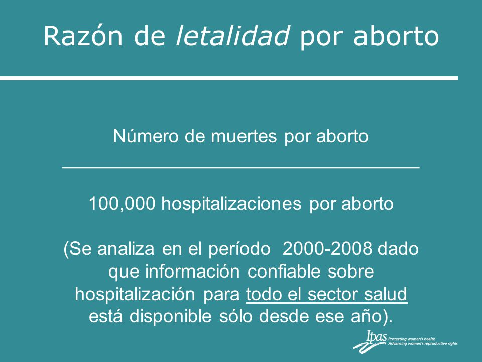 Razón de letalidad por aborto