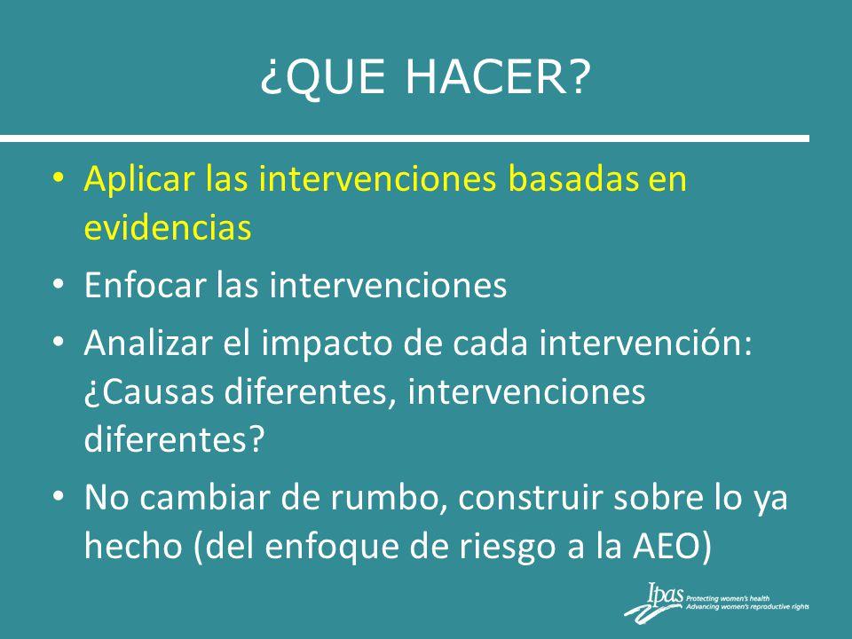 ¿QUE HACER Aplicar las intervenciones basadas en evidencias