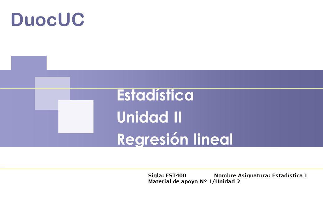 Estadística Unidad II Regresión lineal
