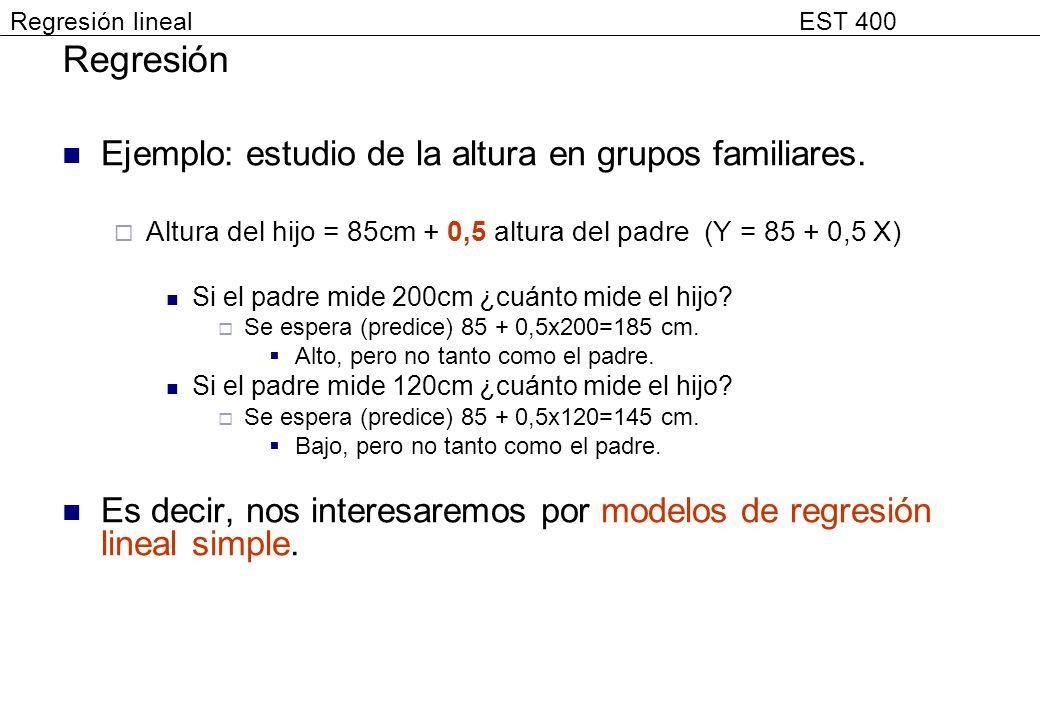 Regresión Ejemplo: estudio de la altura en grupos familiares.