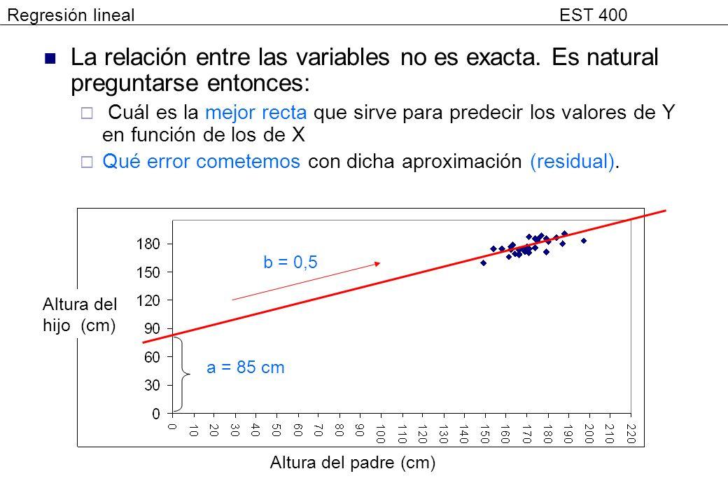 Regresión lineal EST 400 La relación entre las variables no es exacta. Es natural preguntarse entonces:
