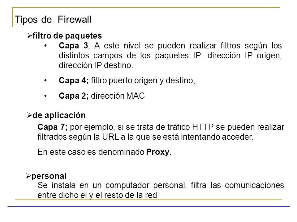 Tipos de Firewall filtro de paquetes