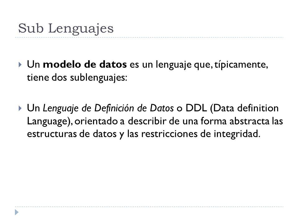 Sub Lenguajes Un modelo de datos es un lenguaje que, típicamente, tiene dos sublenguajes: