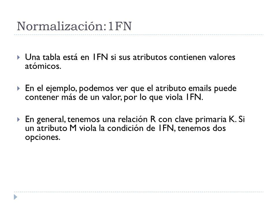 Normalización:1FN Una tabla está en 1FN si sus atributos contienen valores atómicos.