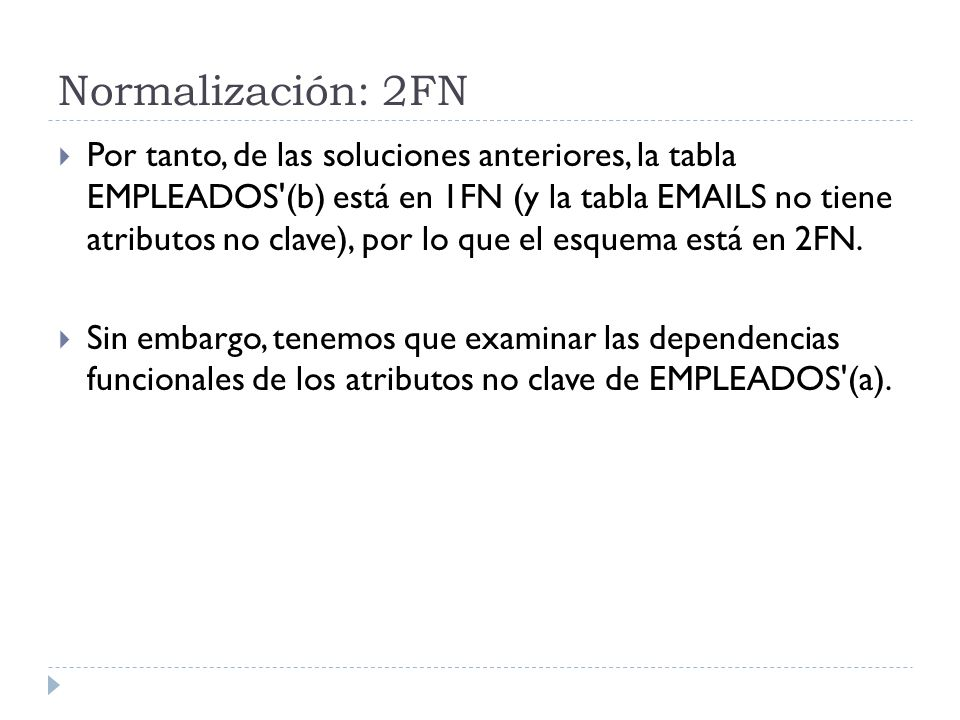 Normalización: 2FN