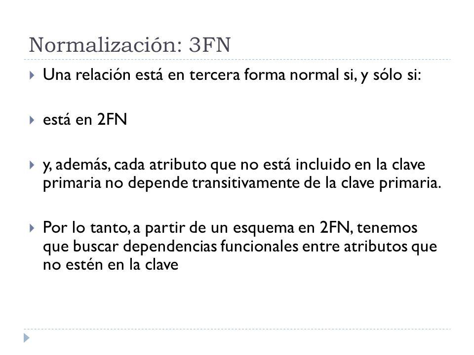 Normalización: 3FN Una relación está en tercera forma normal si, y sólo si: está en 2FN.