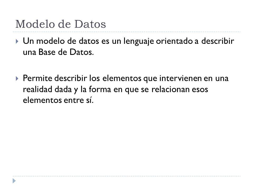 Modelo de Datos Un modelo de datos es un lenguaje orientado a describir una Base de Datos.