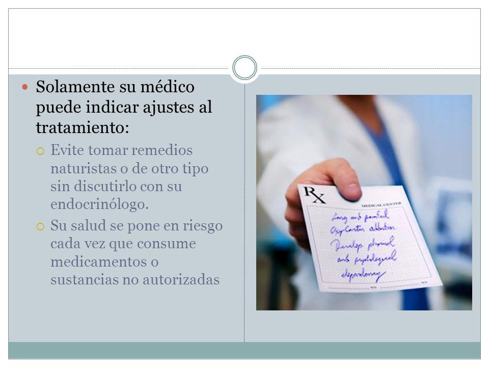 Solamente su médico puede indicar ajustes al tratamiento: