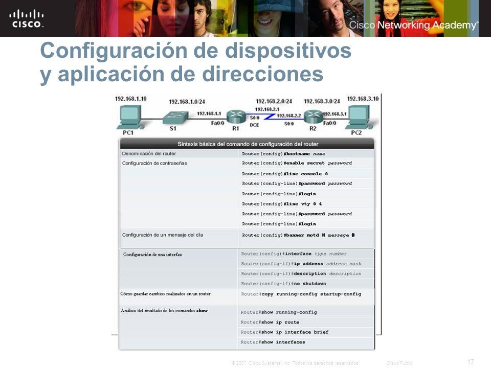 Configuración de dispositivos y aplicación de direcciones