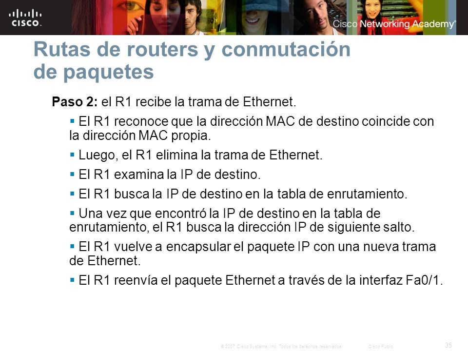 Rutas de routers y conmutación de paquetes