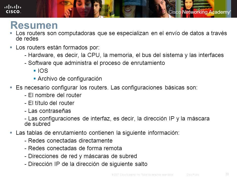 Resumen Los routers son computadoras que se especializan en el envío de datos a través de redes. Los routers están formados por: