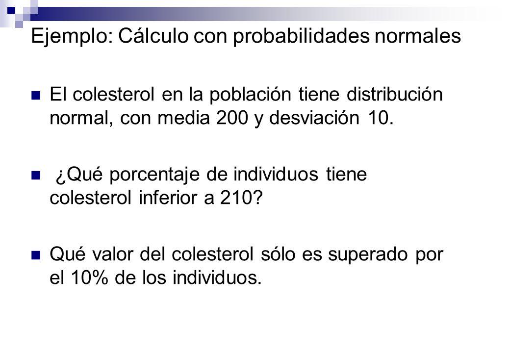 Ejemplo: Cálculo con probabilidades normales