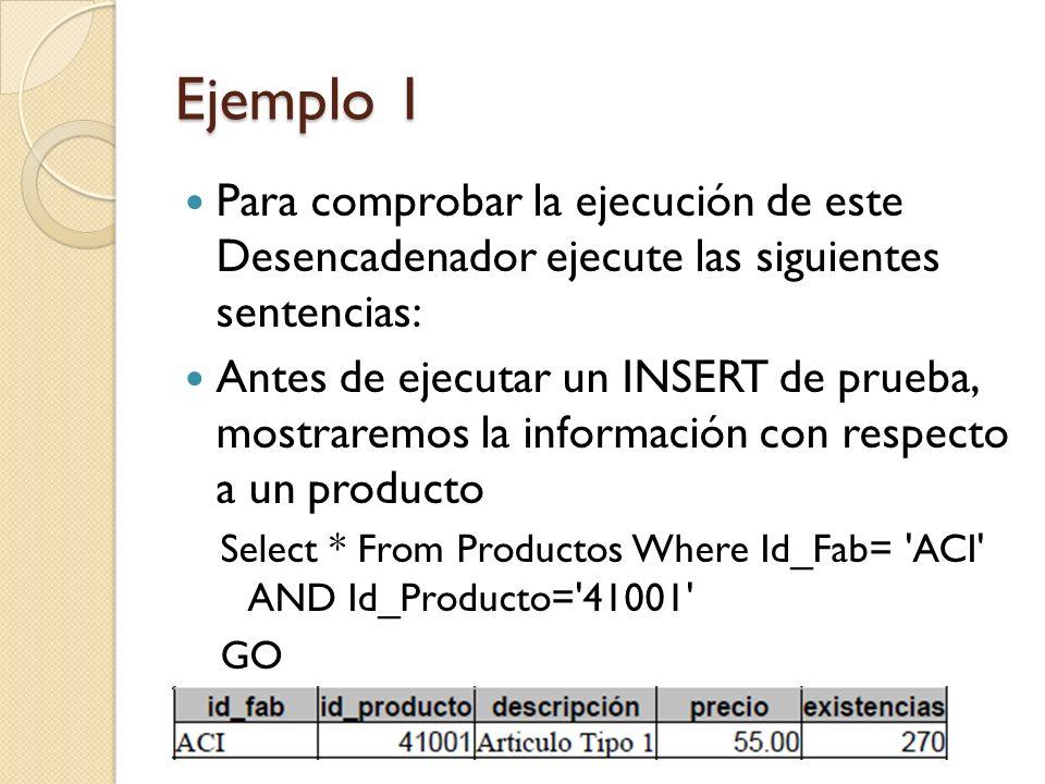 Ejemplo 1 Para comprobar la ejecución de este Desencadenador ejecute las siguientes sentencias: