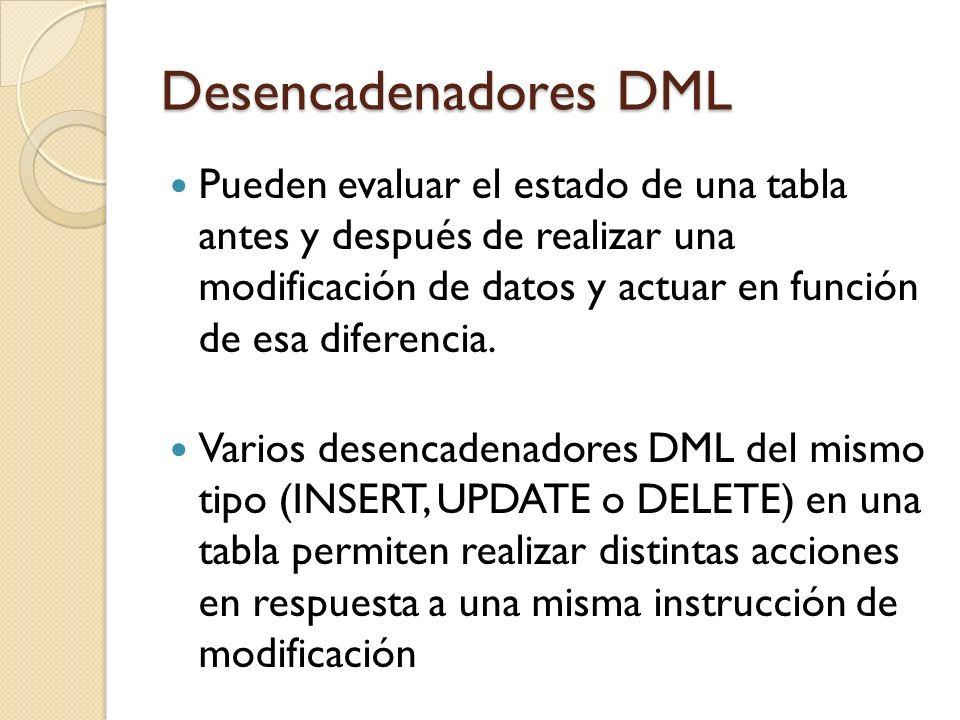 Desencadenadores DML