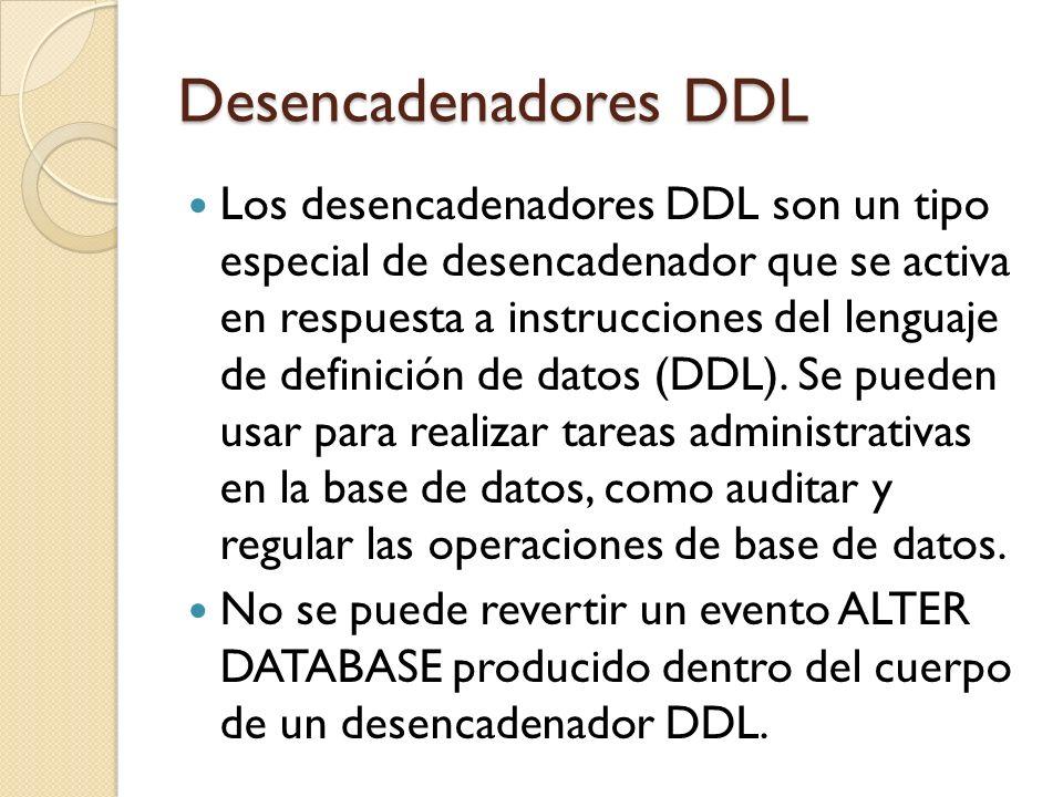 Desencadenadores DDL