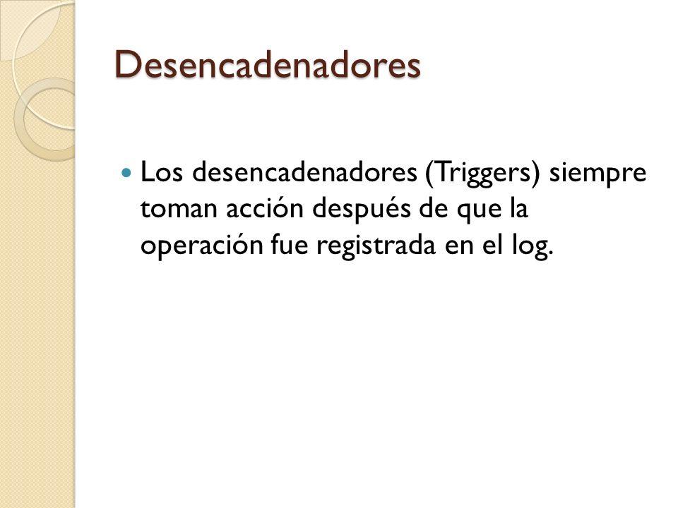 Desencadenadores Los desencadenadores (Triggers) siempre toman acción después de que la operación fue registrada en el log.
