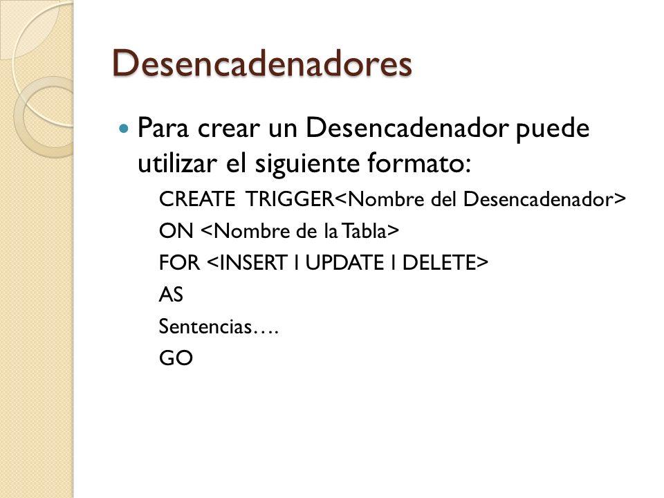 Desencadenadores Para crear un Desencadenador puede utilizar el siguiente formato: CREATE TRIGGER<Nombre del Desencadenador>