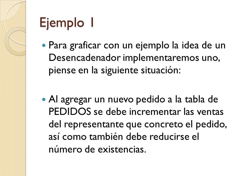 Ejemplo 1 Para graficar con un ejemplo la idea de un Desencadenador implementaremos uno, piense en la siguiente situación: