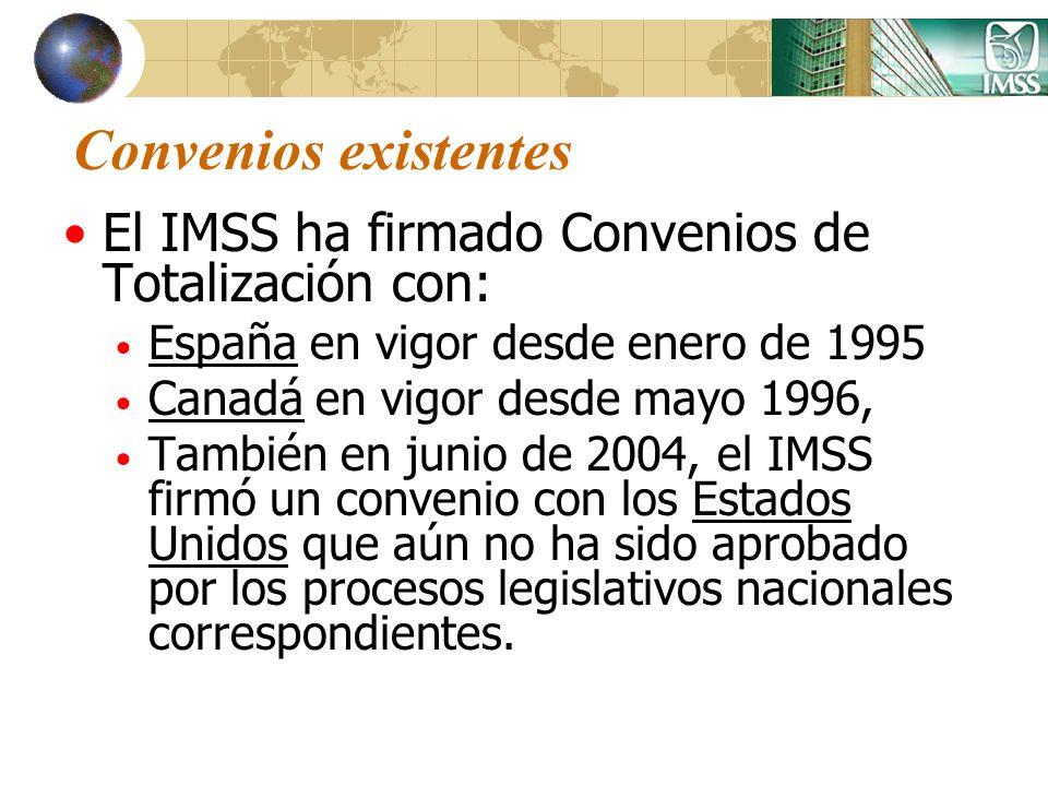 Convenios existentes El IMSS ha firmado Convenios de Totalización con: