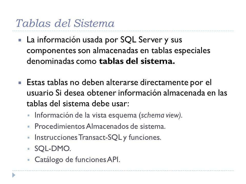 Tablas del Sistema La información usada por SQL Server y sus componentes son almacenadas en tablas especiales denominadas como tablas del sistema.