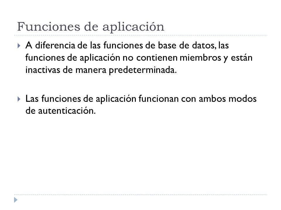 Funciones de aplicación