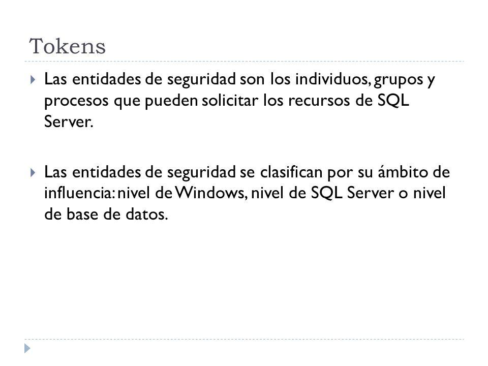 TokensLas entidades de seguridad son los individuos, grupos y procesos que pueden solicitar los recursos de SQL Server.