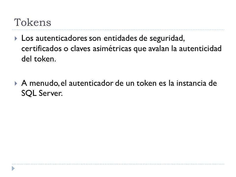 TokensLos autenticadores son entidades de seguridad, certificados o claves asimétricas que avalan la autenticidad del token.