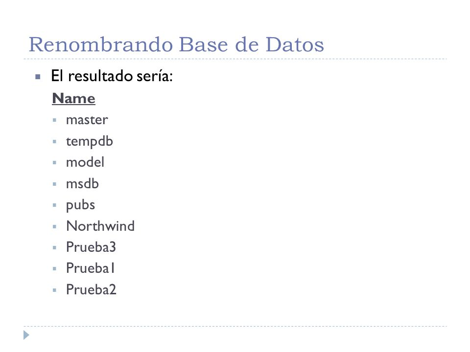 Renombrando Base de Datos