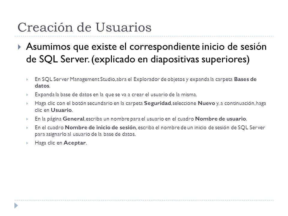 Creación de UsuariosAsumimos que existe el correspondiente inicio de sesión de SQL Server. (explicado en diapositivas superiores)