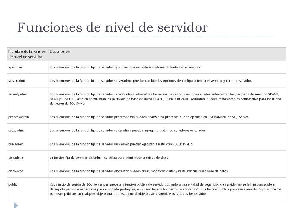 Funciones de nivel de servidor