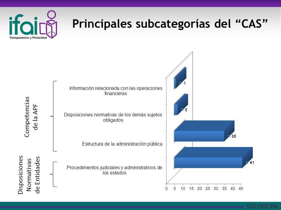 Principales subcategorías del CAS