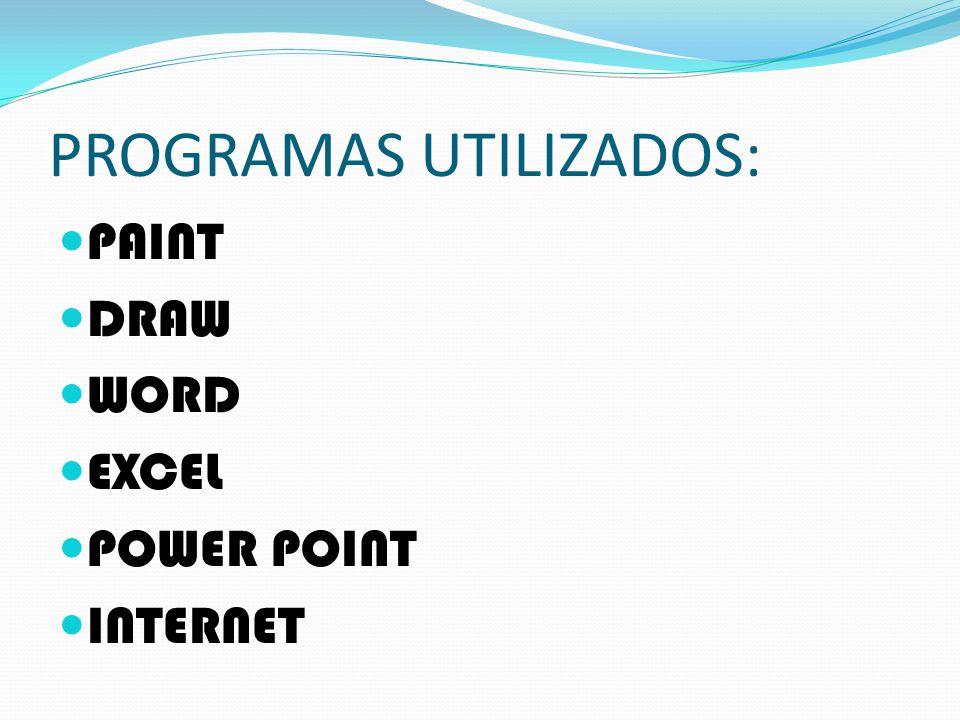 PROGRAMAS UTILIZADOS: