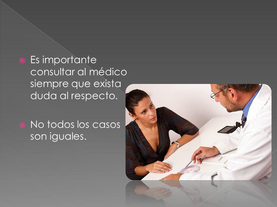 Es importante consultar al médico siempre que exista duda al respecto.