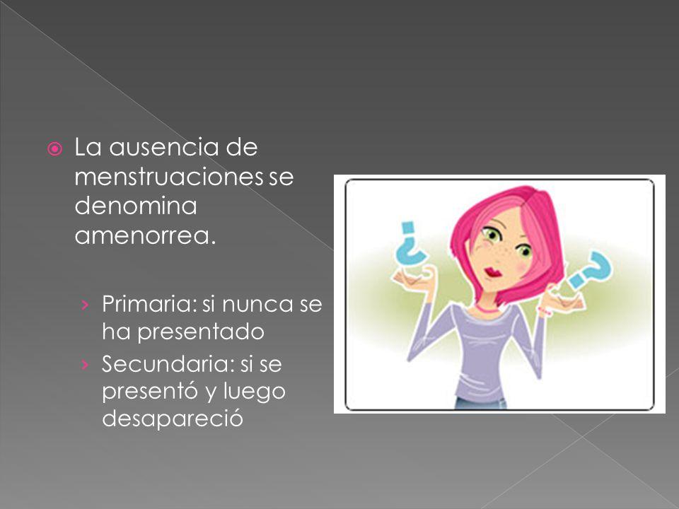La ausencia de menstruaciones se denomina amenorrea.