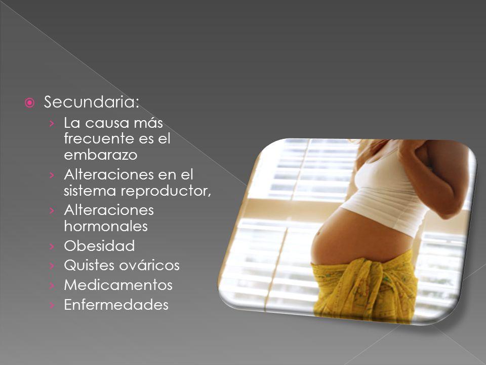 Secundaria: La causa más frecuente es el embarazo