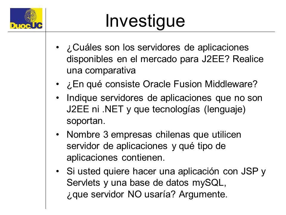 Investigue ¿Cuáles son los servidores de aplicaciones disponibles en el mercado para J2EE Realice una comparativa.