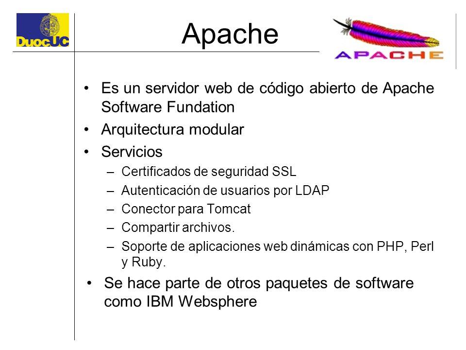 Apache Es un servidor web de código abierto de Apache Software Fundation. Arquitectura modular. Servicios.
