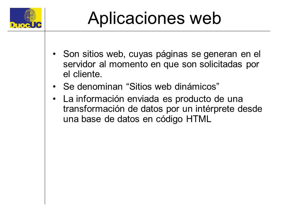 Aplicaciones web Son sitios web, cuyas páginas se generan en el servidor al momento en que son solicitadas por el cliente.