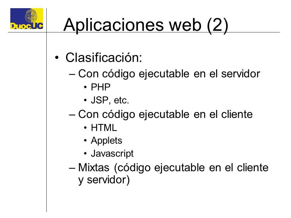 Aplicaciones web (2) Clasificación: