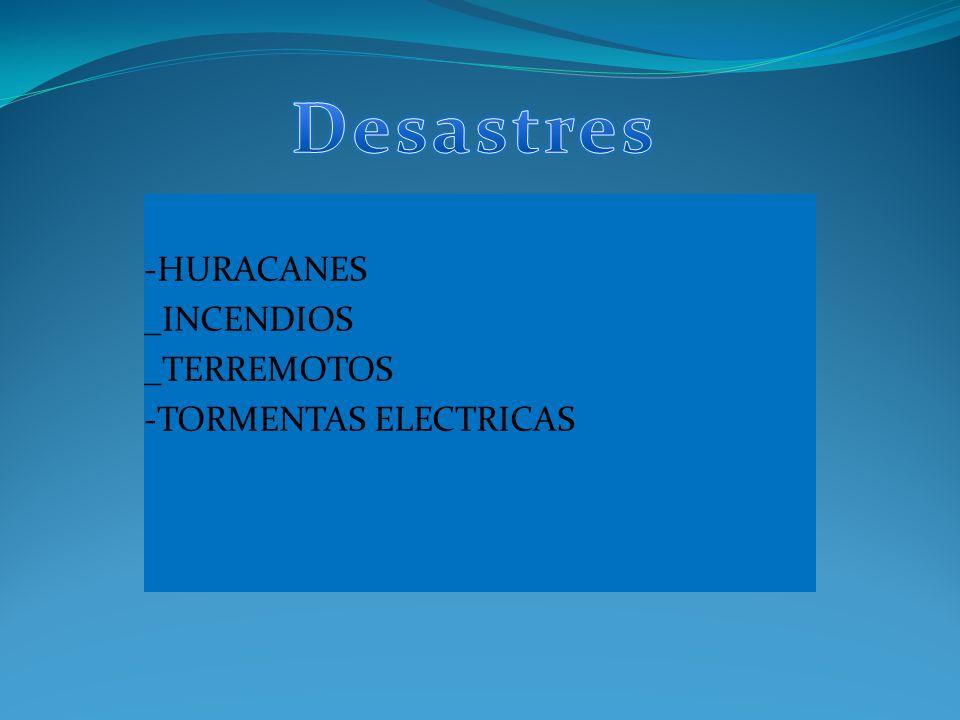 Desastres TIPOS DE DESASTRES -HURACANES _INCENDIOS _TERREMOTOS