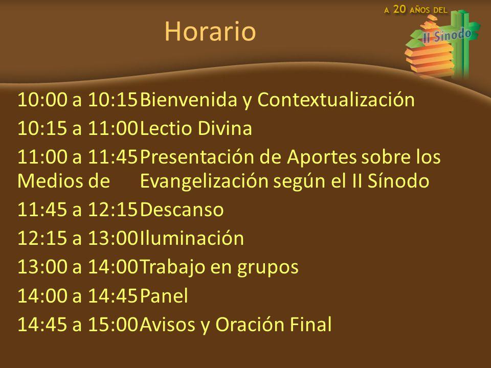 Horario 10:00 a 10:15 Bienvenida y Contextualización