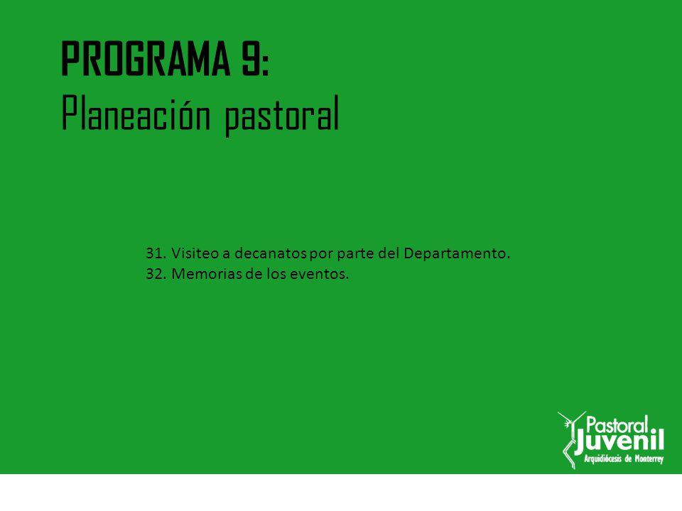 PROGRAMA 9: Planeación pastoral