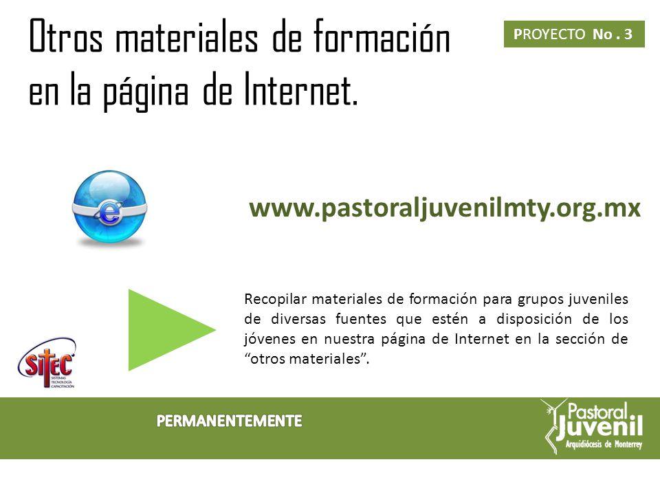 Otros materiales de formación en la página de Internet.