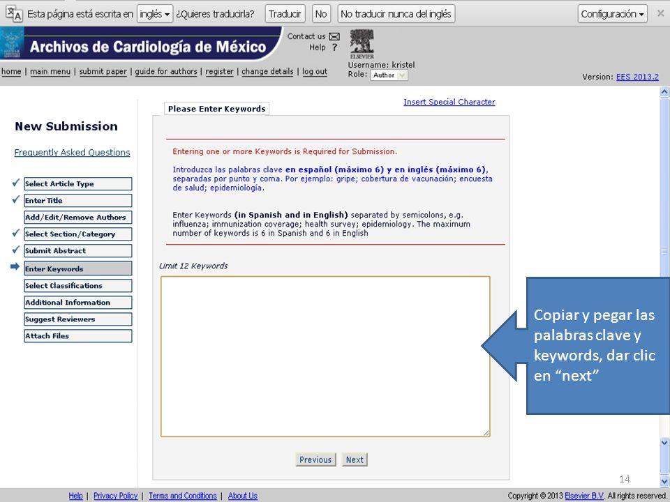 Copiar y pegar las palabras clave y keywords, dar clic en next