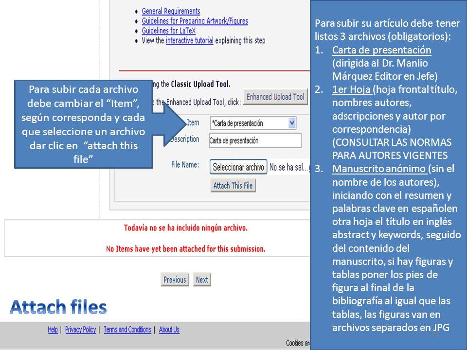 Para subir su artículo debe tener listos 3 archivos (obligatorios):