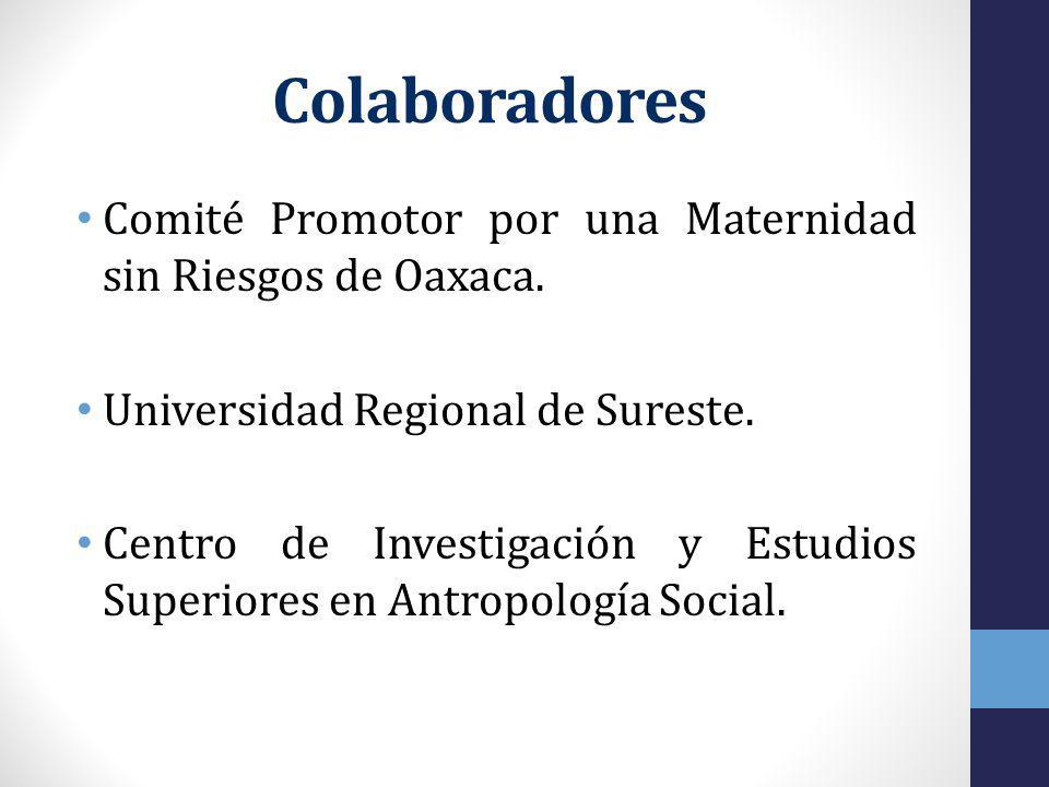 Colaboradores Comité Promotor por una Maternidad sin Riesgos de Oaxaca. Universidad Regional de Sureste.