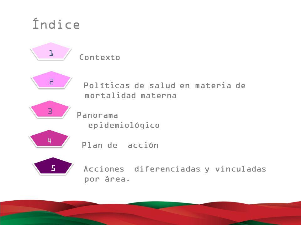 Índice 1. Contexto. 2. Políticas de salud en materia de mortalidad materna. 3. Panorama epidemiológico.