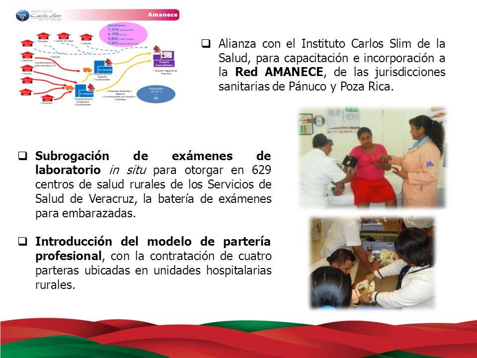 Alianza con el Instituto Carlos Slim de la Salud, para capacitación e incorporación a la Red AMANECE, de las jurisdicciones sanitarias de Pánuco y Poza Rica.