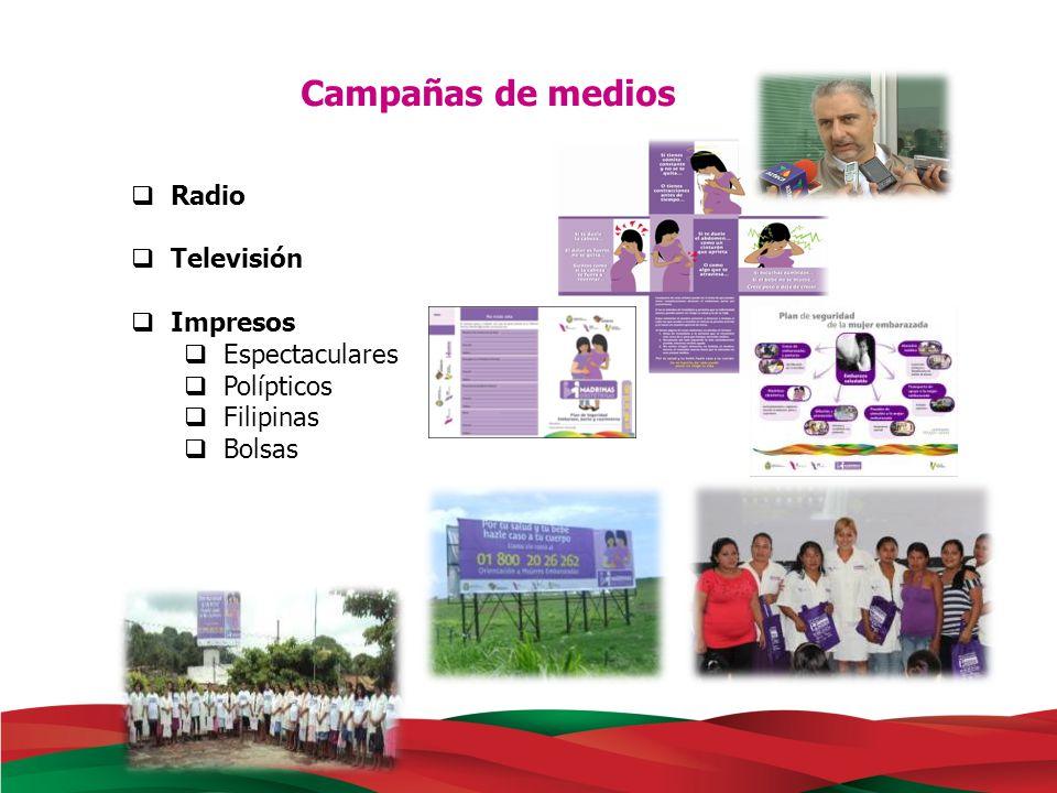 Campañas de medios Radio Televisión Impresos Espectaculares Polípticos