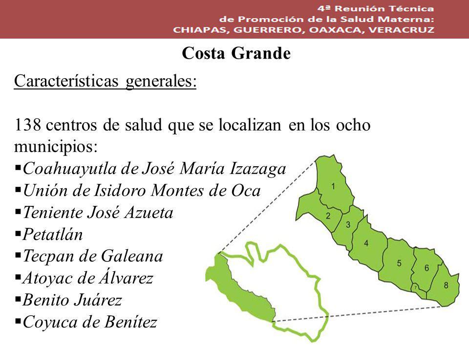 Costa Grande Características generales: 138 centros de salud que se localizan en los ocho municipios: